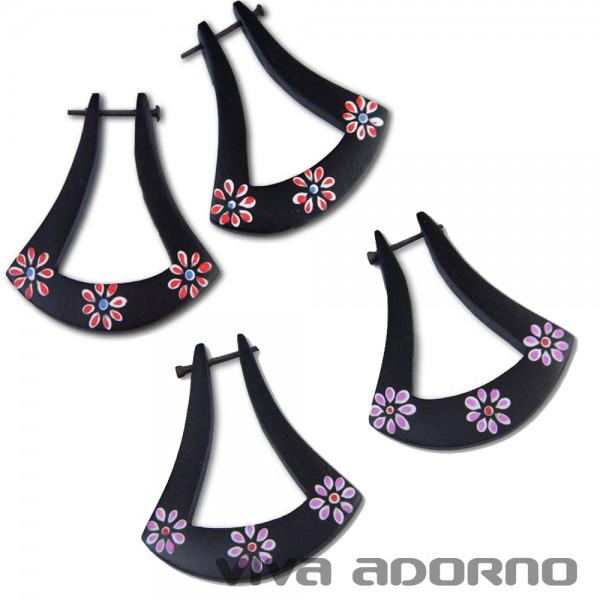 1 Paar Holz Ohrringe Blümchen Blumen Blüten Naturschmuck CE125
