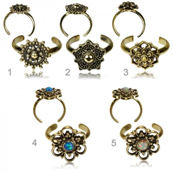 Zehenring Messing Ethno Vintage Antik Style Zehen Ring verstellbar Opal Z518