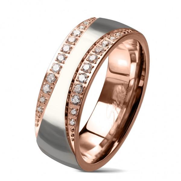 Edelstahl Damen Ring Fingerring Verlobungsring Rosegold Silber Kristall RS60