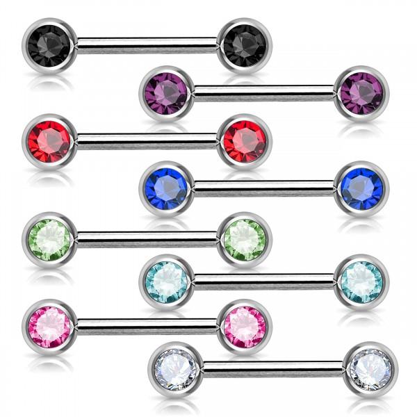 1,6mm Brust Piercing Front Kristall Zirkonia Barbell Hantel Nippel Piercing Z283