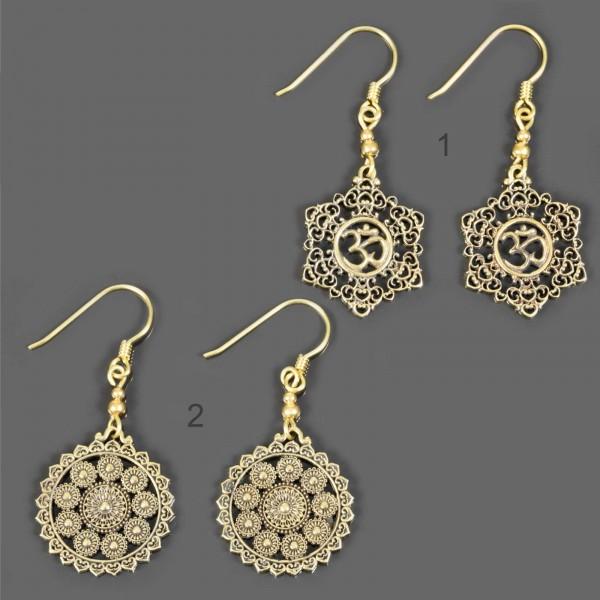 1 Paar Ohrringe Messing Ethno Vintage Antik Style Creolen Goa Om Ohr Hänger ER3