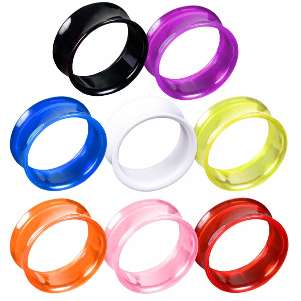 3-20mm Flesh Tunnel double flared transparent neon Tube Tunnel Plug Z159