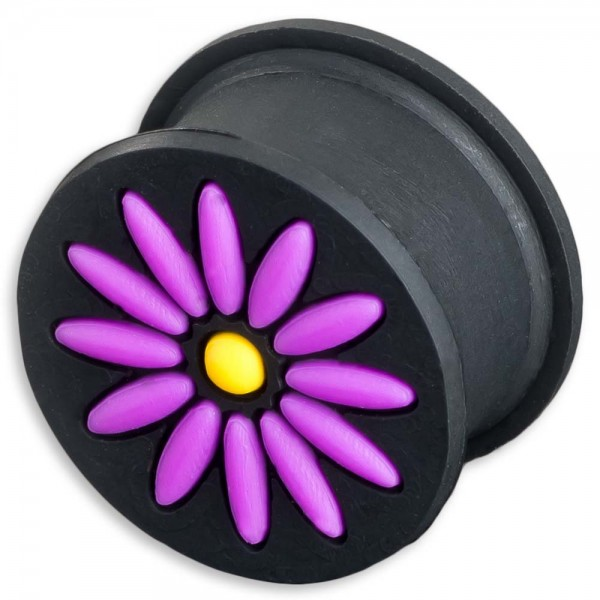 6-16mm Plug Silikon Blume Blüte Blümchen Lila Violett Schwarz Flesh Tunnel Z290