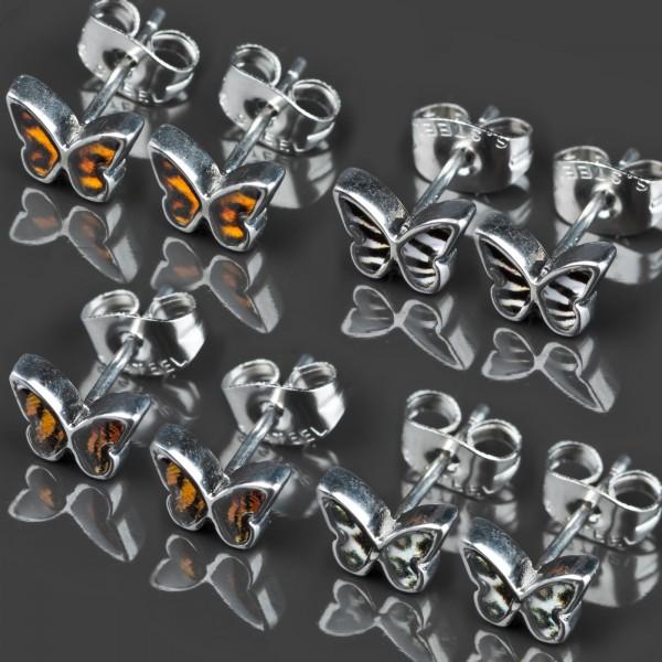 1 Paar Ohr Stecker Schmetterlinge Rockabilly Edelstahl Ohrringe Z364