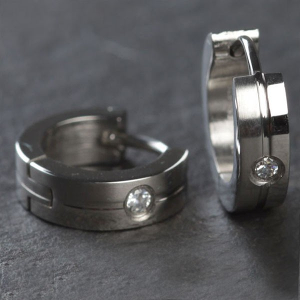 1 Paar Edelstahl Creolen Silber Zirkonia Kristall Matt Edelstahl Ohrringe ER57