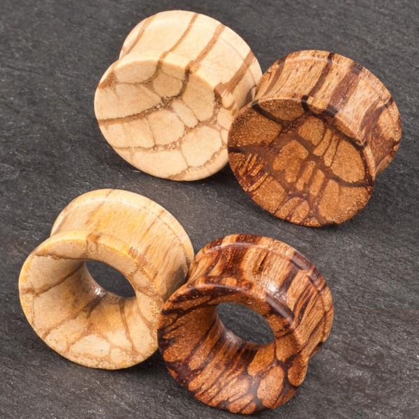 4 bis 25mm Flesh Tunnel Plug Holz Marmoriert Zebraholz Ohr Piercing Z22