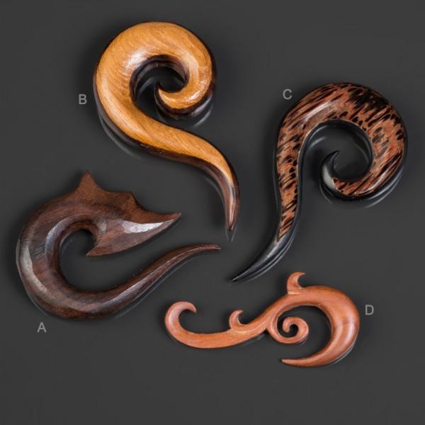 4-12mm Dehnungsspirale Holz Expander Taper Sichel Spirale Ohr Piercing Horn WX4