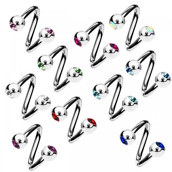 1,2mm Lippen Piercing Zirkonia Labret Spirale Twist Doppel Kugel Ohr Strass Z336