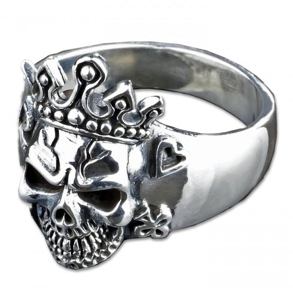 925 Silber Ring Totenkopf Poker König Krone Pik Rockabilly Biker Skull King SR32