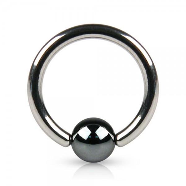 2mm BCR Intim Brust Piercing Ohr Septum Ring Klemmring silber Kugel schwarz Z555
