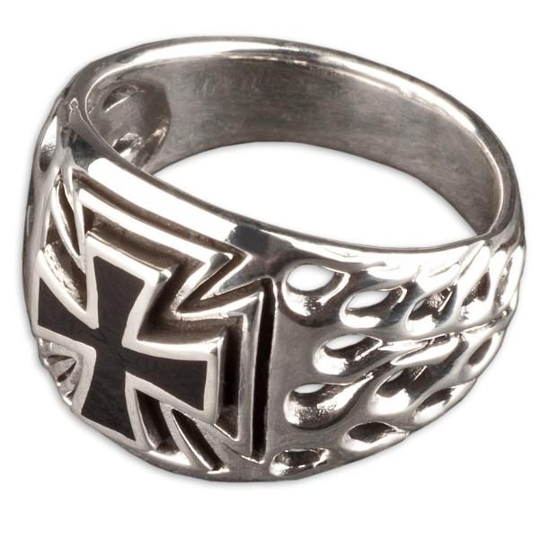 925 Silber Siegel Ring Daumenring Eisernes Kreuz Flammen Biker Iron Cross SR13