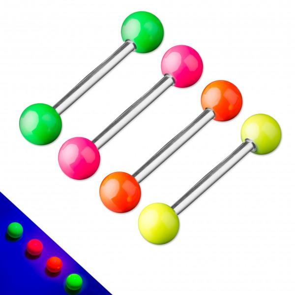 Zungen Piercing Barbell leuchtet Neon in Schwarzlicht Hantel Brust Piercing Z373