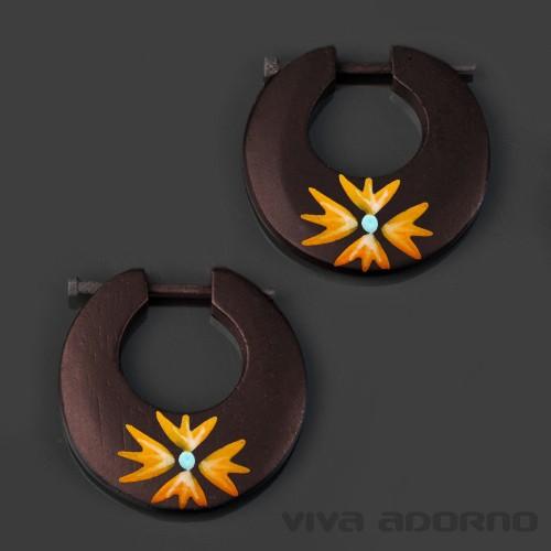 Holz Ohrringe Creolen handbemalt Blüten Blumen Ohr Stecker Naturschmuck CE223