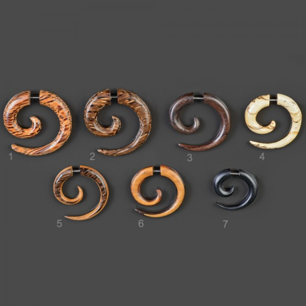 Fake Spirale Ohr Piercing Holz Fake Piercing OhrringE Cheater Z436