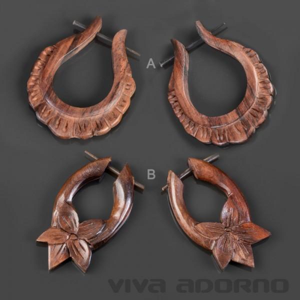 1 Paar Holz Ohrringe geschnitzt Holz Creolen Blüten Blumen Ohr Piercing CC470