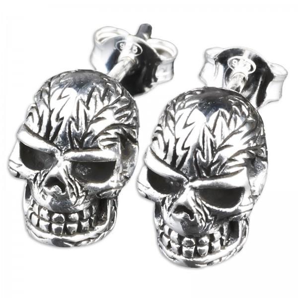 1 Paar 925 Silber Ohrstecker Totenkopf Ohrringe Gothic Biker Skull Schädel Z218
