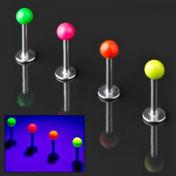 Labret Lippen Piercing Stecker Neon leuchtend in Schwarzlicht Tragus Helix Z369