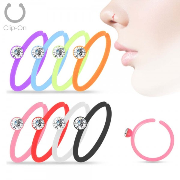 0,8mm Piercing Ring Nasen Ring Nasenpiercing Fake Piercing Kristall Acryl Z503