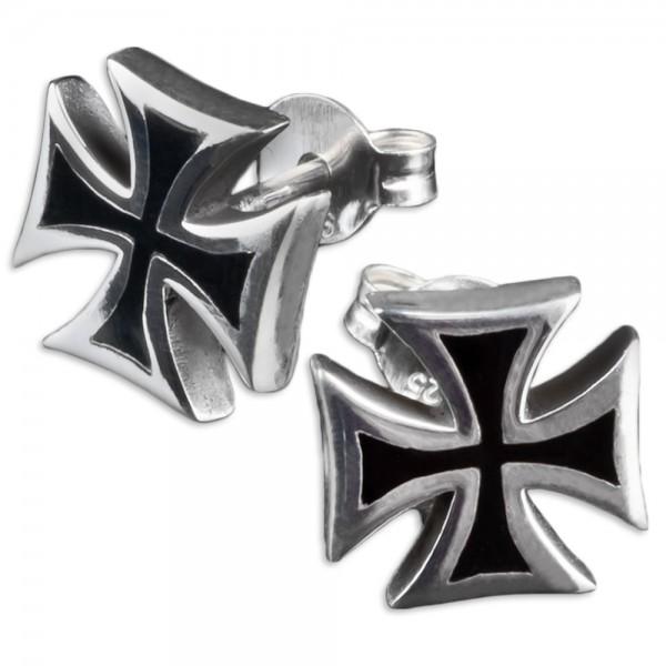 1 Paar 925 Silber Ohrstecker Eisernes Kreuz Ohrringe Biker Iron Cross Z395