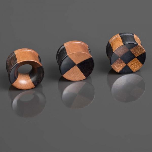 4-25mm Plug Flesh Tunnel Holz zweifarbig Schach Karo Ohr Piercing Bicolor WP101
