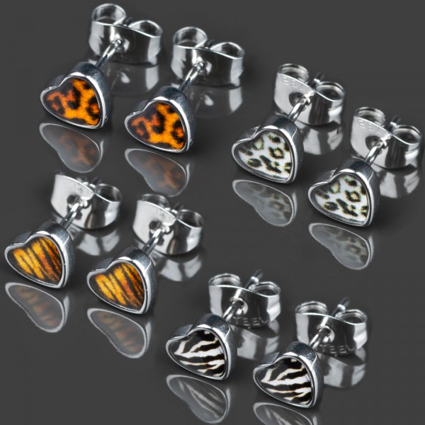 1 Paar Ohr Stecker Herzen Rockabilly Edelstahl Ohrringe Herz Z362