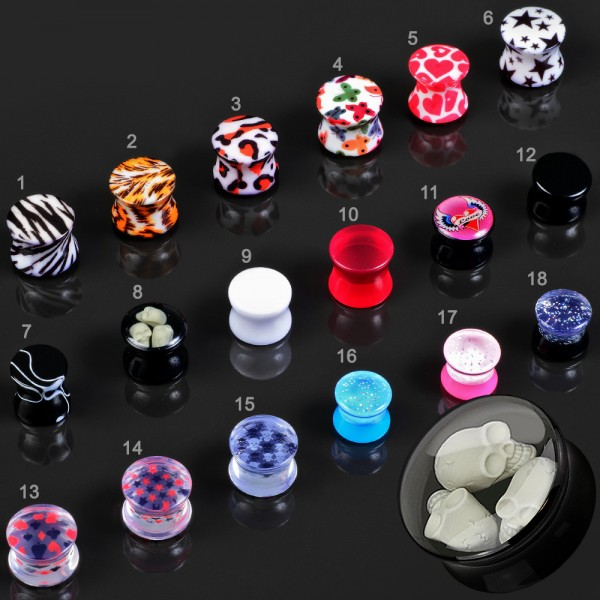 3-24mm Saddle Plug Ohr Piercing Flesh Tunnel double flared Acryl Z454