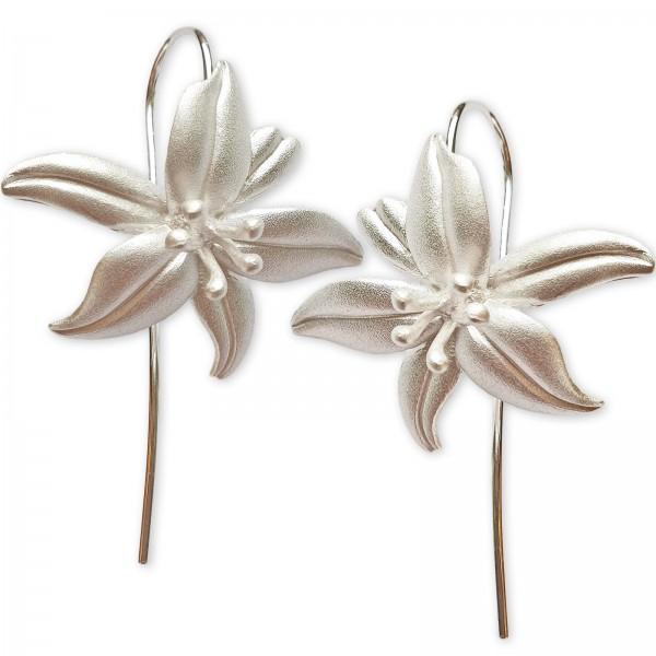 Ohrringe 925 Sterling Silber Ohrhänger Lilien Blüten Lilie Blumen Blüte Z544