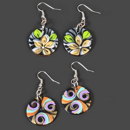 1 Paar Ohrhänger Holz Ohrringe handbemalt Blumen Ohr Hänger Kokos Palm Holz W3