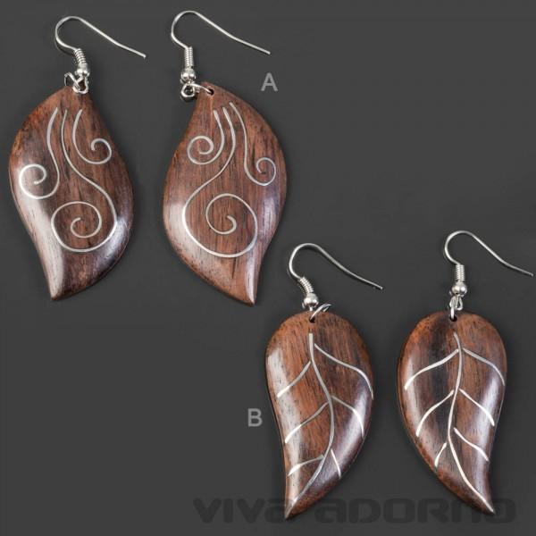 1 Paar Ohrhänger Holz Ohrringe Blatt Laub Inlay Ohr Hänger Blätter CE32