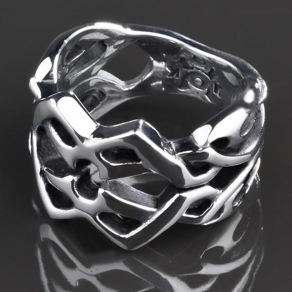 KoolKatana Edelstahl Ring Tribal Gothic Fingerring Biker Keltisch silber RS37
