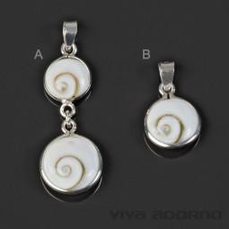 925 Silber Anhänger Shiva Muschel handgefertigt Halskette Spirale AN2