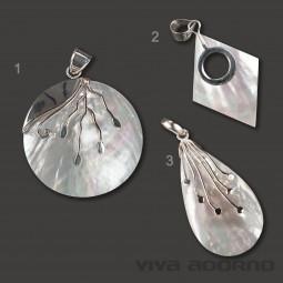 925 Silber Anhänger Perlmutt handgefertigt Muschel Halskette Tropfen Raute AS30