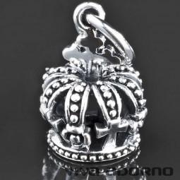 925 Silber Ketten Anhänger Krone Kreuz König Crown Halskette 3D Biker AS58