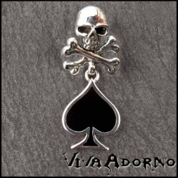 Anhänger Totenkopf Skull and Bones Poker Pik 925 Silber Halskette AS9