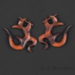 Ethno Sono Holz Ohrringe Creolen Naturschmuck Ohr Piercing Stecker Om Goa CC462