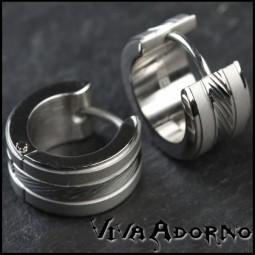 1 Paar Edelstahl Creolen Silber Matt mit Schliff Edelstahl Ohrringe ER39