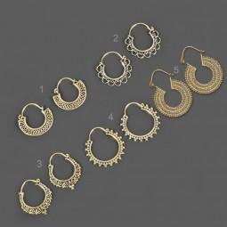 1 Paar Ohrringe Messing Ethno Vintage Antik Style Creolen Goa Ohr Hänger ER4