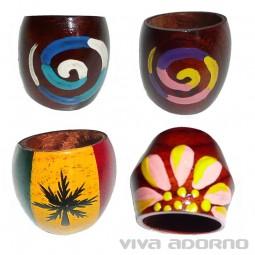 Design Holz Ring handbemalt Fingerring Natur Schmuck Damen Ring Goa R13