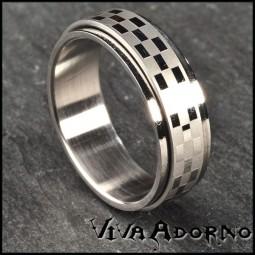 Edelstahl Ring drehbar Spinning Ring Fingerring Damenring Herrenring Caro RS8