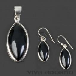Ohrringe Ohr Hänger Anhänger Onyx 925 Silber Set schwarz SH62