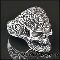 925 Silber Ring Totenkopf Pentagramm Vampir Cyborg Biker Gothic Rock Tattoo SR20
