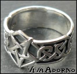 925 Silber Ring Pentagramm Fingerring Gothic Tribal keltisch SR9