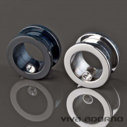 6-14mm Flesh Tunnel Plug Stahl Zirkonia Kristall Strass Bling Zirkon Z146