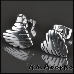 1 Paar Ohr Stecker Herzen Edelstahl Ohrringe Rockabilly Herz Z216