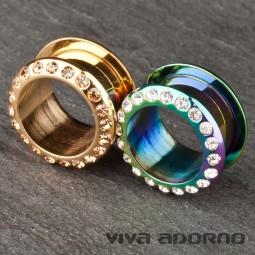 Flesh Tunnel Plug Stahl Rainbow Gold Zirkonia Kristall Strass 4-20mm Z36