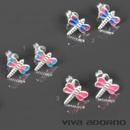 1 Paar Ohr Stecker Libellen 925 Silber Kinder Mädchen Ohrringe Libelle Z473