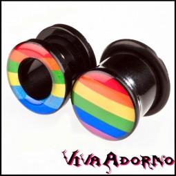 4-12mm Flesh Tunnel Plug Acryl Rainbow Pride Regenbogen Ohr Piercing Z6