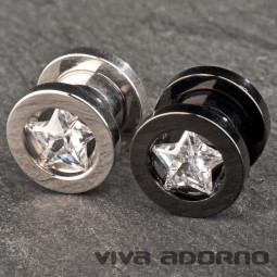 5 -12 mm Flesh Tunnel Plug Stahl Stern Zirkonia Kristall Strass Star Z99