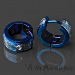 1 Paar Edelstahl Creolen Blau gebürstet Kristall Zirkonia Ohrringe ER23