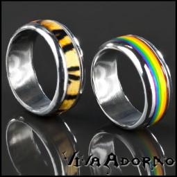 Edelstahl Ring Bandring Regenbogen Tiger Design Daumenring Rainbow Leo RS16